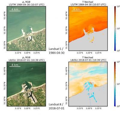 Uitbreiding van de havenmuren en binnenhavendokken van de haven van Zeebrugge, en ophoping van zand op de stranden ten oosten en westen van de havenmuren (1984 versus 2018). © KBIN/REMSEM