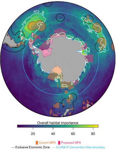 Momenteel overlappen de bestaande en voorgestelde beschermde mariene gebieden grotendeels met de gebieden van groot ecologisch belang (© Hindell et al. 2020, Nature)
