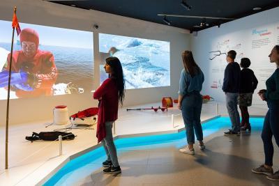Bezoekers voor de projectieschermen over duiken in de tentoonstelling Antarctica (foto: Thierry Hubin, KBIN).