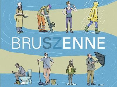 Affiche van BruSZenne: verschillende menselijke gebruiken van water voorgesteld langs een rivier (Afbeelding: Claude Desmedt, KBIN)