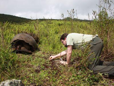 Entomologist Wouter Dekoninck collecting ants at Galápagos