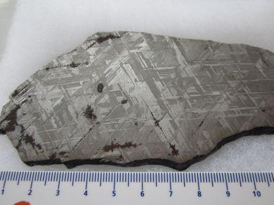 Slice of the Gibeon meteorite, that fell in prehistoric times in Namibia. It was named after the nearest town: Gibeon.