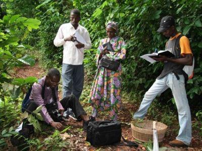 Afrikaanse biologen determineren soorten tijdens veldwerk