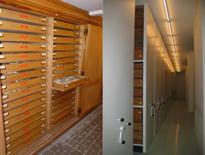 Alte Schrankwand mit Kästen(links) und neue Rollregale mit Kästen (rechts).