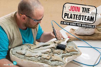 Aldo Impens dégage le pied de Ben le platéosaure avec un petit outil pneumatique semblable à ceux des dentistes. Photo : Thierry hubin / IRSNB