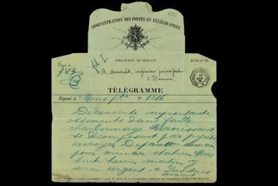 Foto van het telegram dat Gustave Arnaut stuurde na de ontdekking van de beenderen in de mijn