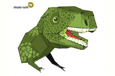 De T. rex-kop in papier (copyright: KBIN)