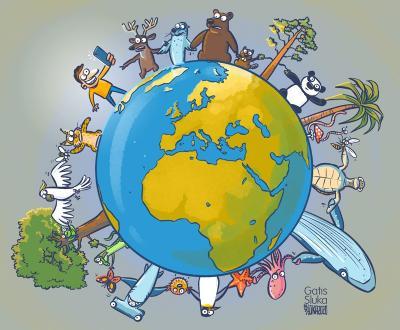 Logo de #Biodiversity2020 (© Karikatūra.Lv)