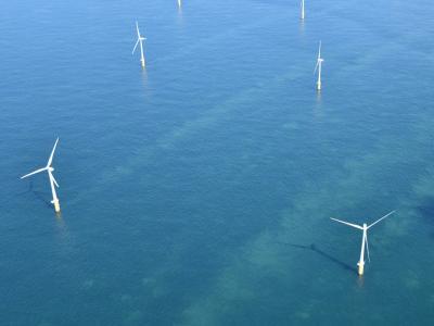Luchtzicht op een Belgisch offshore windpark. (Beeld KBIN)