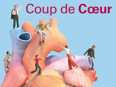 """Visuel de l'expo """"Coup de cœur """":des gnes entourant et escaladant un cœur humain gigantesque"""