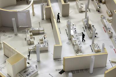 Maquette van de zaal (ingezoomd op het deel over de biologie van de mens)