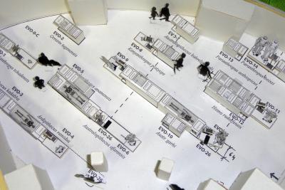 Maquette van de zaal (ingezoomd op het deel over de evolutie van de mens)