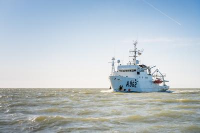 De RV Belgica beëindigt haar laatste campagne als Belgisch oceanografisch onderzoeksschip. 25 maart 2021. Beeld: Belgian Navy/J. Urbain