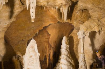 Miniature cave with stalactites and stalagmites