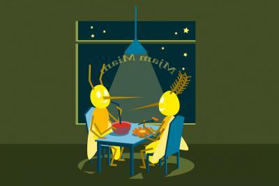 """illustration tirée de l'expo """"Mini-jungle"""": 2 moustiques attablés"""