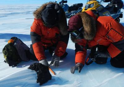 Antarctische meteoriet van 18 kilogram wordt door wetenschappers gemeten en uit het ijs gehaald.