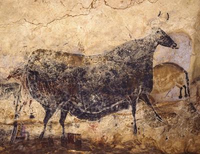 Een van de grottekeningen in de Lascaux-tentoonstelling in het Jubelpark