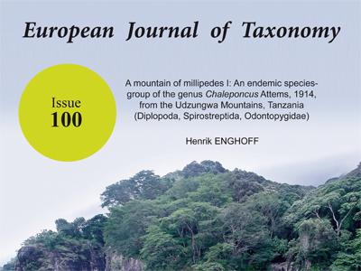 Honderdste editie van European Journal of Taxonomy