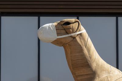 Unser hölzerner Iguanodon, vor dem Museum, mit seiner Maske (Foto: Stéphane Van Israël, KBIN)
