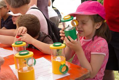 Kinderen kijken naar insecten met een vergrootglasdoosje (foto: KBIN)