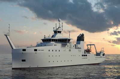 Het toekomstige onderzoeksschip © Freire Shipyard/Rolls-Royce Marine AS