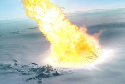 Artistieke impressie van een meteorietontploffing boven Antarctica. (door Mark Garlick / markgarlick.com)