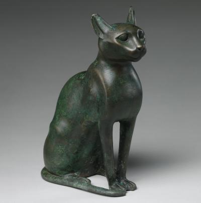 Bronze statuette intended to contain a mummified cat (Ptolemaic period, 332–30 B.C.) (photo: Harris Brisbane Dick Fund, 1956)