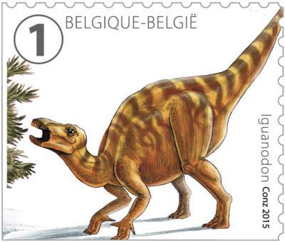 Timbre illustrant le très célèbre Iguanodon bernissartensis dont une trentaine de spécimens furent découverts dans une mine de charbon à Bernissart entre 1878 et 1881. Les Iguanodons sont devenus les icônes du Muséum des Sciences naturelles