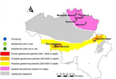 Kaart van België met het geothermisch potentieel (gemiddelde tot grote diepte) en de (natuurlijke) geothermische putten. (KBIN, Estelle Petitclerc)