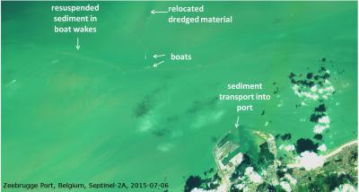 Beeld van de haven van Zeebrugge, genomen door satelliet Sentinel-2A op 6 juli 2015. (Foto: ESA)