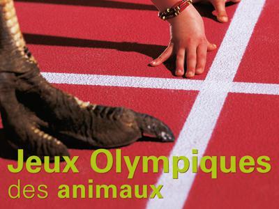 """Visuel de l'expo """"Jeux Olympiques des animaux"""": une autruche, un zèbre et un enfant sur la ligne de départ"""