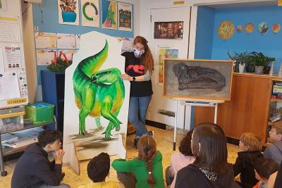 Een animatie over de dinosauriërs in een klas (foto: KBIN)