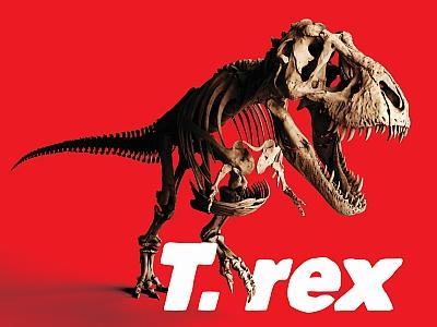 Visual der T. rex-Ausstellung (Trix-Skelett in Angriffsposition)