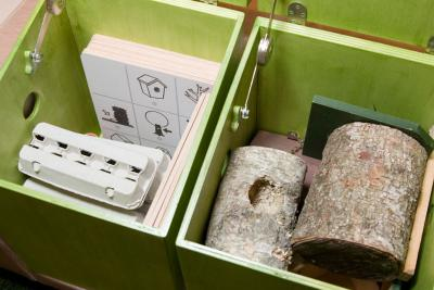 une boîte contient différents nids, une autre des œufs et de fiches d'indices