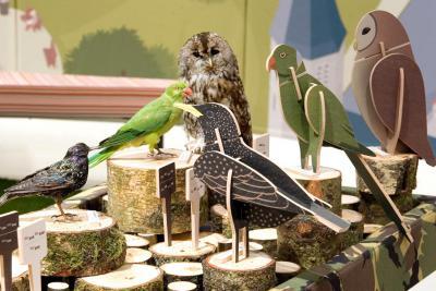 différents oiseaux et les puzzles 3D simplifiés correspondants