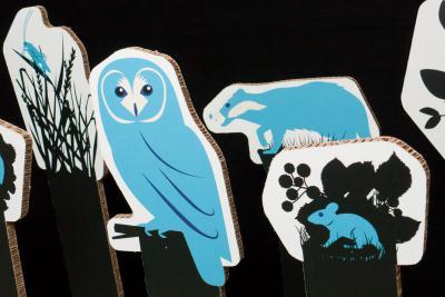 Onder de geïllustreerde nachtdieren zijn er een kerkuil, een bramensprinkhaan, een bosmuis en een das.