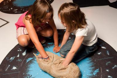 Des enfants analysent le contenu d'une pelote de réjection géante.