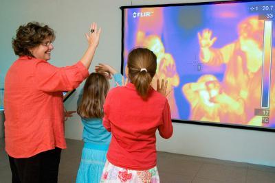 Thermogramme (imagerie thermique) en direct d'un groupe de visiteurs