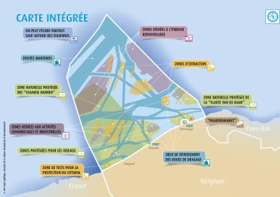 Carte integrée avec toutes les fonctions d'utilisation du plan d'aménagement des espaces marins 2020-2026.