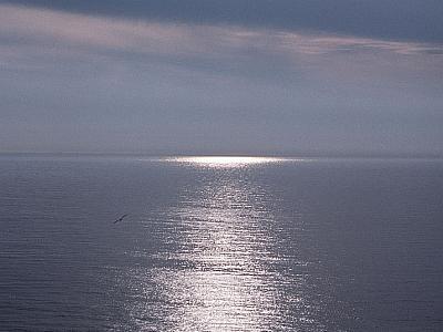 Ondergaande zon op de oceaan