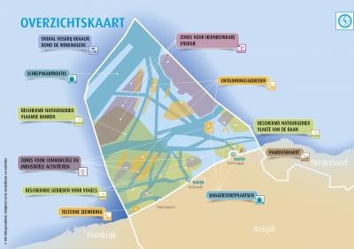 Overzichtskaart met alle gebruiksfuncties uit het Marien Ruimtelijk Plan 2020-2026.