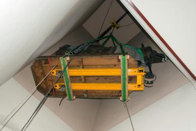 … en in het trappenhuis opgehangen! (© Museum voor Natuurwetenschappen - Pascal Kileste)