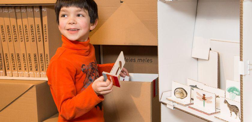 Een kind haalt de tekeningen van specimens uit een doos die hij zal vervolgens zal classificeren