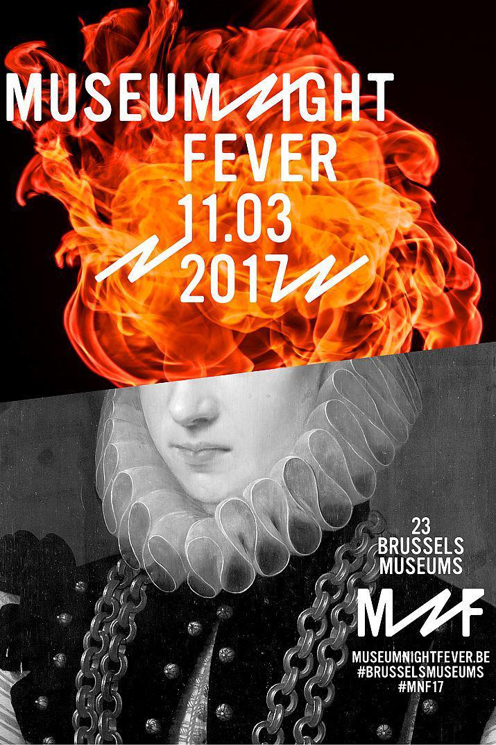 Affiche de la MNF 2017: des flammes dans la moitié supérieure, un buste coupé sous les yeux dans la moitié inférieure