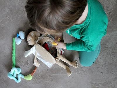 Un enfant replace les organes dans le ventre d'une poupée (photo : Coralie Boeykens / IRSNB)