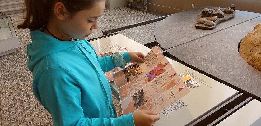 Une jeune fille en train de lire la prochaine question du Parcours Jurassic World dans la Galerie des Dinosaures
