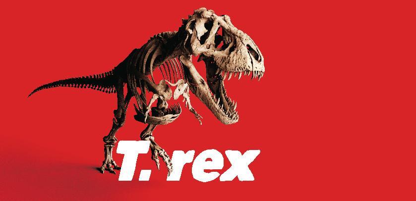 Visual van T. rex tentoonstelling (Trix skelet in aanvalspositie)