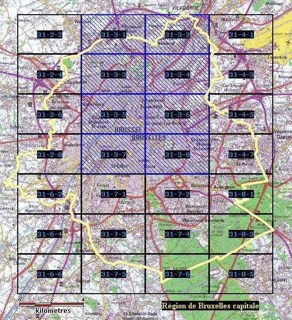 Blauwe rechthoeken: in uitvoering; grens van Het Brusselse Gewest in geel.Topografische achtergrond: uittreksel uit de kaart 109 op schaal 1/100.000