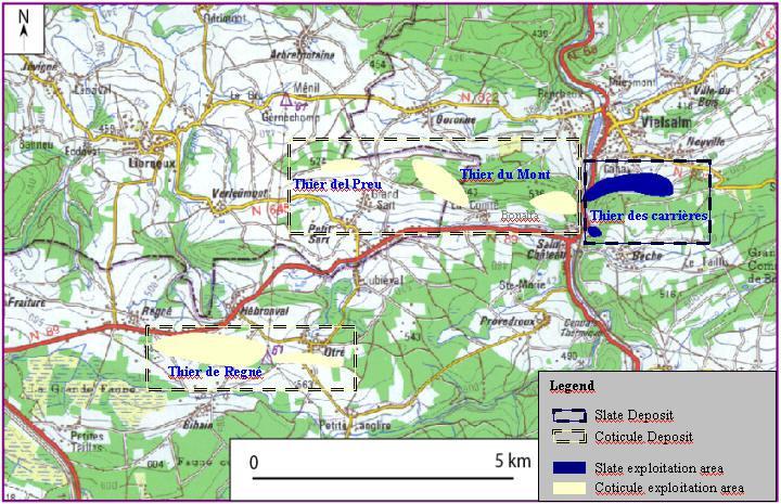 Uittreksel van topografische kaart op schaal 1/50000