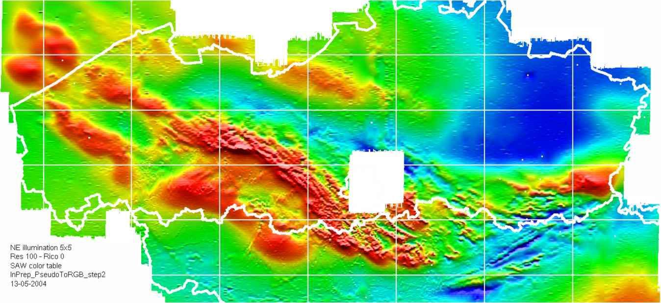Deze nieuwe kaart toont een aantal breukzones, waarvan het bestaan werd afgeleid op basis van aeromagnetische lineamenten
